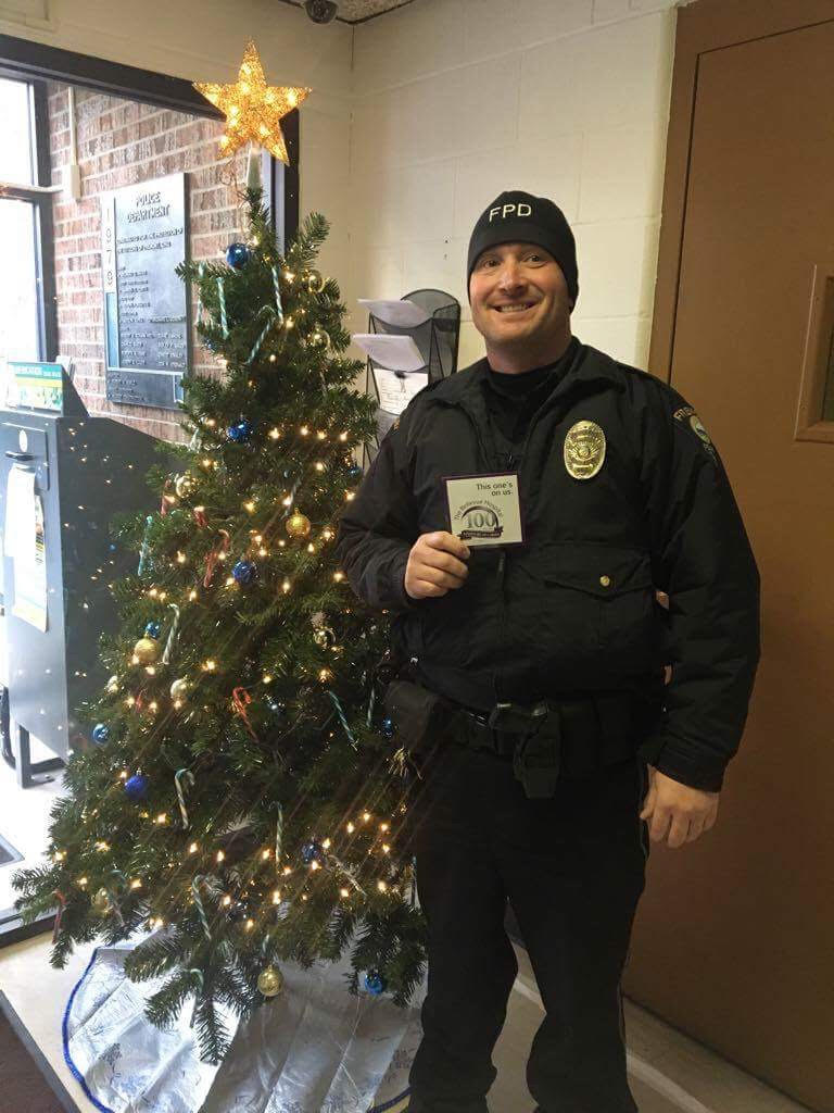 """On behalf of the Bellevue Hospital and Pain Management Group we would like to pay it forward to the people that matter most. For me that means the men and women who protect us every day, which is you. Please accept this from all of us at the Bellevue Pain Clinic and Merry Christmas."" – Bellevue Pain Management Center (Bellevue, Ohio)"